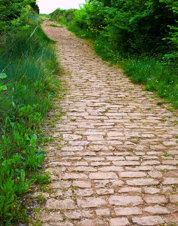 pilgrim journey: The way of Saint James roman track in Cirauqui Navarra Pamplona