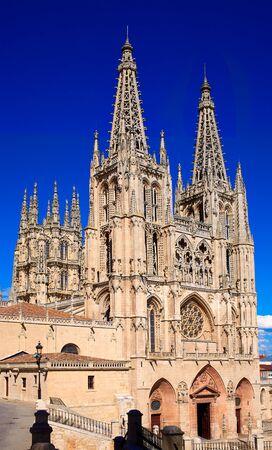 camino de santiago: Burgos Cathedral facade in Saint James Way at Castilla Leon of Spain