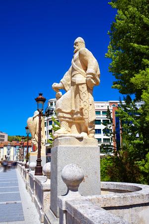 pablo: Burgos San Pablo bridge Statues over Arlanzon river in Castilla Spain Stock Photo