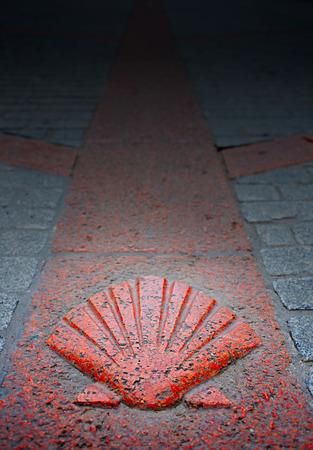 xacobeo: Burgos city Way of Saint James shell sign in Castilla Spain in granite rock on floor