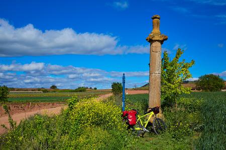 xacobeo: Azofra Saint James Way cross column monument at La Rioja