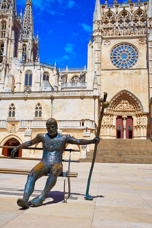 xacobeo: Burgos monument to Pilgrim in Cathedral by Saint James Way at Castilla Leon of Spain