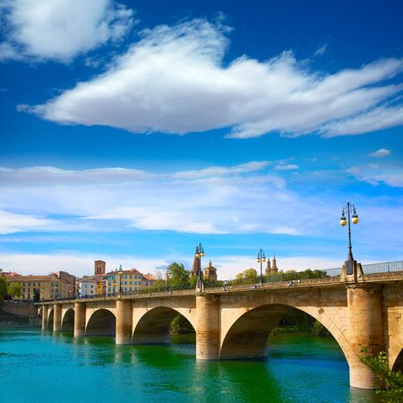 xacobeo: The Way of Saint James in Logrono bridge Ebro river at Spain