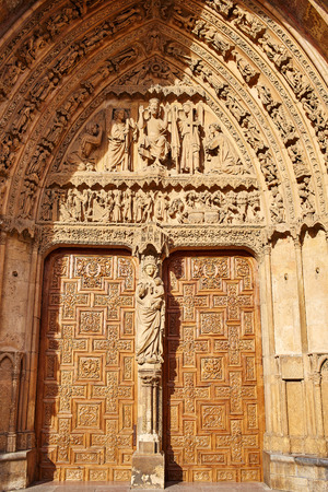 castilla: Cathedral of Leon facade door in Castilla at Spain