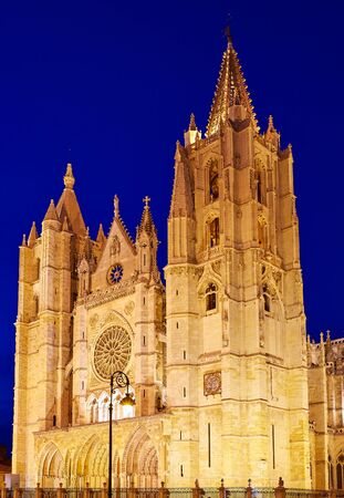 leon: Cathedral of Leon sunset facade in Castilla at Spain Stock Photo
