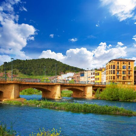la rioja: Najera bridge by The way of Saint James in La Rioja of Spain Stock Photo