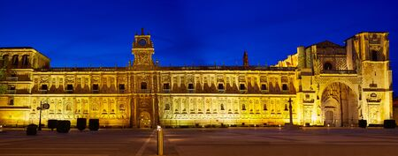 marcos: San Marcos in Leon sunset at the way of Saint James Castilla Spain Stock Photo