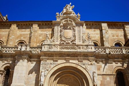 the french way: Leon San Isidoro church by the way of saint James at Castilla Spain