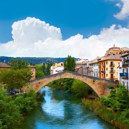 Estella bridge in Way of Saint James at Navarra Spain Stock Photo