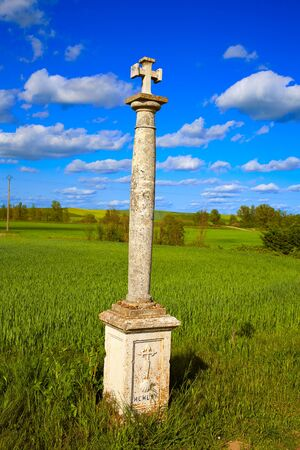 xacobeo: The Way of Saint James cross column in Palencia cereal fields of Spain Stock Photo