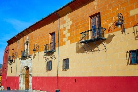 plaza: Leon Obispado facade in Plaza Regla square beside Cathedral at Castilla Spain Stock Photo