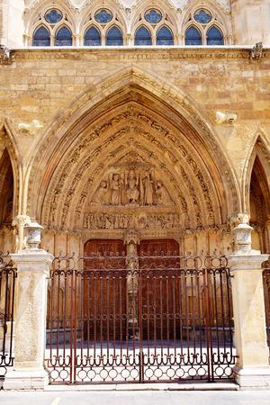 camino de santiago: Cathedral of Leon facade in Castilla at Spain
