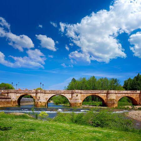 camino de santiago: Bernesga river bridge in Leon Way of Saint James at Castilla Spain
