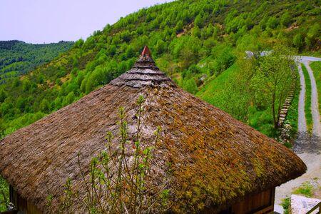 xacobeo: O Cebreiro by the way of Saint James in Galicia Palloza traditional celtic hut Stock Photo