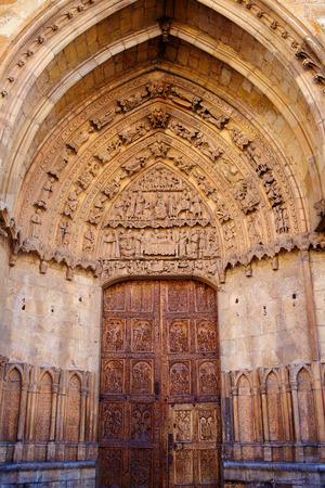 kirk: Cathedral of Leon carved door in Castilla at Spain