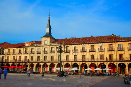 xacobeo: Leon Plaza Mayor in Way of Saint James at Castilla Spain