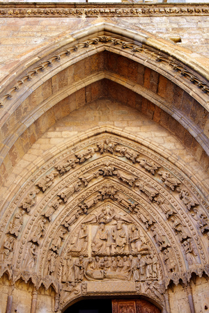castilla: Cathedral of Leon door gothic arch in Castilla at Spain