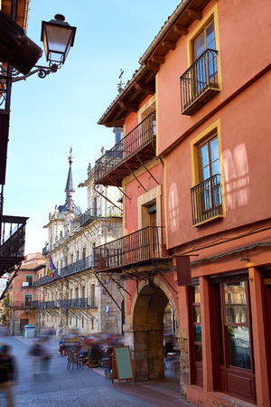 kirk: Leon downtown street by the way of Saint James at Castilla Spain Stock Photo
