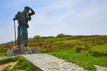 pilgrim journey: O Cebreiro Alto San roque top in the way of Saint James in Galicia Spain