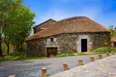 camino de santiago: O Cebreiro by the way of Saint James in Galicia Palloza traditional celtic hut Stock Photo