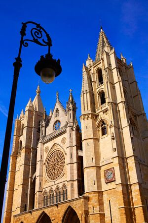 kirk: Cathedral of Leon facade in Castilla at Spain