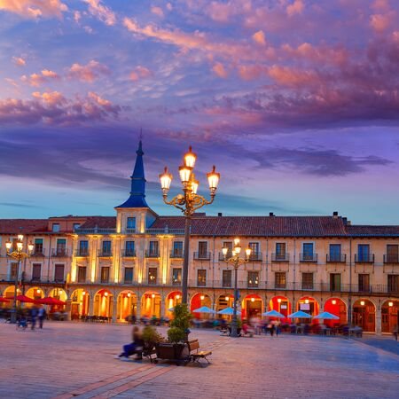 xacobeo: Leon Plaza Mayor sunset in Way of Saint James at Castilla Spain