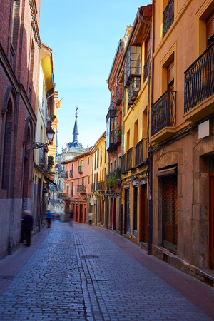 romanesque: Leon downtown street by the way of Saint James at Castilla Spain Stock Photo