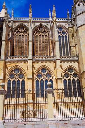 xacobeo: Cathedral of Leon side facade in Castilla at Spain
