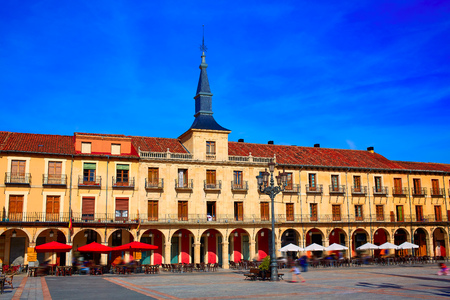 mayor: Leon Plaza Mayor in Way of Saint James at Castilla Spain