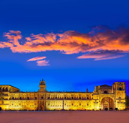 castilla: San Marcos in Leon sunset at the way of Saint James Castilla Spain Stock Photo