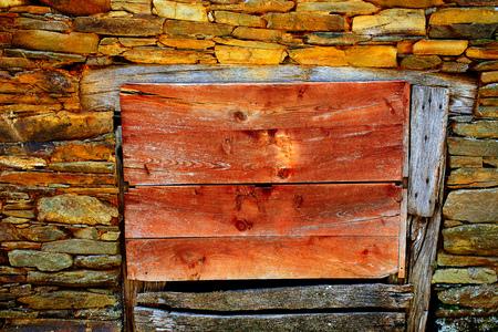 way of st james: Way of Saint James slate stone wooden door in Galicia Spain