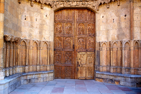 castilla: Cathedral of Leon carved door in Castilla at Spain