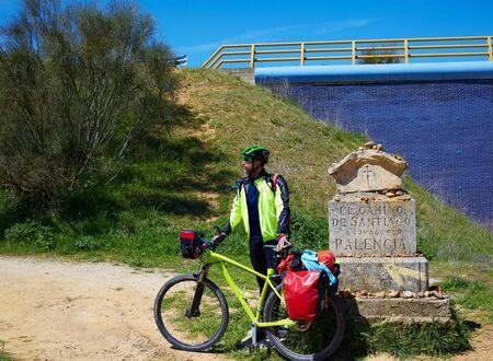 El Camino de Santiago motorista arroba piedra Palencia España photo