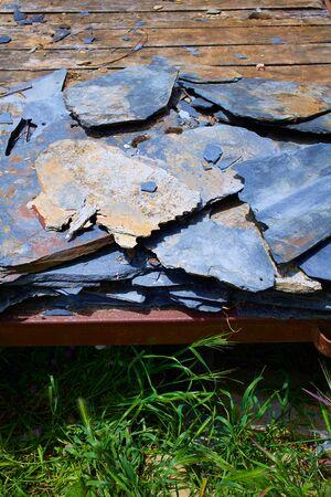 pilgrim journey: Way of Saint James slate stone in Galicia Spain