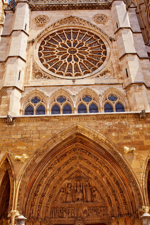 castilla: Cathedral of Leon gothic Rosette in Castilla at Spain
