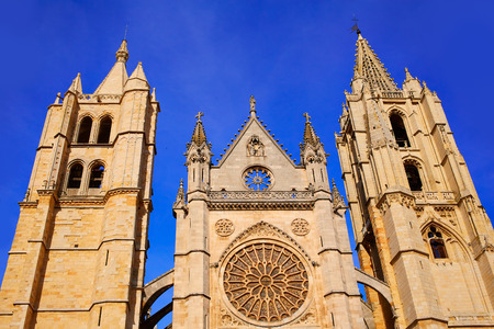 leon: Cathedral of Leon facade in Castilla at Spain