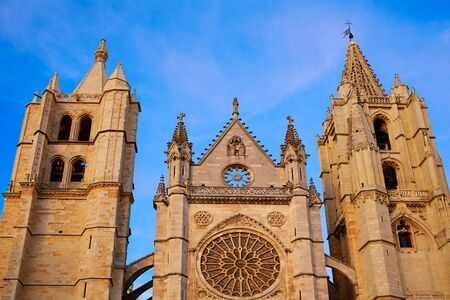 castilla: Cathedral of Leon facade in Castilla at Spain
