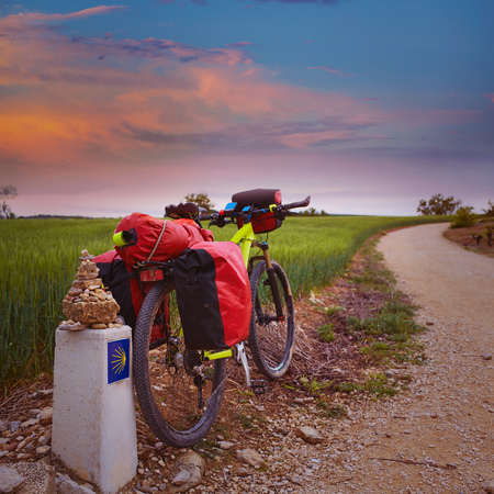 xacobeo: The Way of Saint James biking between Navarra and Rioja in Spain Stock Photo