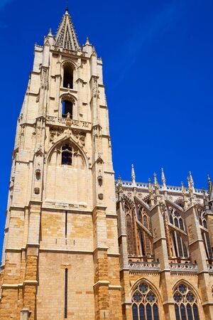 kirk: Cathedral of Leon side facade in Castilla at Spain