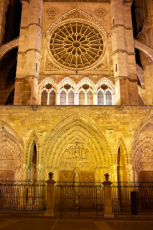 xacobeo: Cathedral of Leon sunset facade in Castilla at Spain Stock Photo