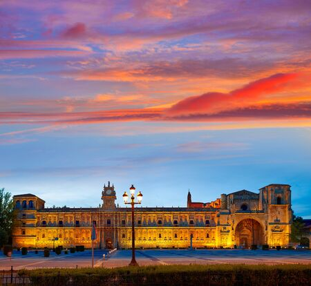 camino de santiago: San Marcos in Leon sunset at the way of Saint James Castilla Spain Stock Photo