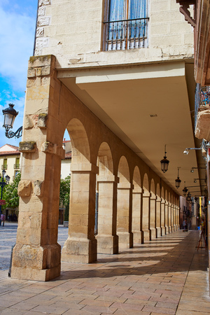 rioja: Way of Saint James Logrono Arcades in Mercado Plaza square La Rioja