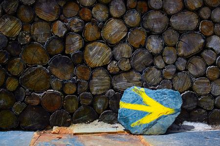 camino de santiago: O Cebreiro by the way of Saint James in Galicia yellow arrow sign Spain