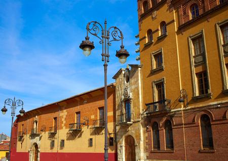romanesque: Leon Obispado facade in Plaza Regla square beside Cathedral at Castilla Spain Stock Photo