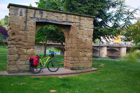 xacobeo: Najera biking by The way of Saint James in La Rioja of Spain Stock Photo
