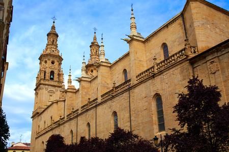 santa maria: Logrono Cathedral of Santa Maria la Redonda in La Rioja way of saint james Stock Photo