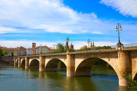 The Way of Saint James in Logrono bridge Ebro river at Spain
