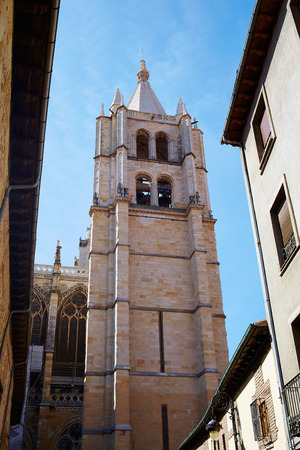 kirk: Cathedral of Leon in Castilla at Spain Stock Photo