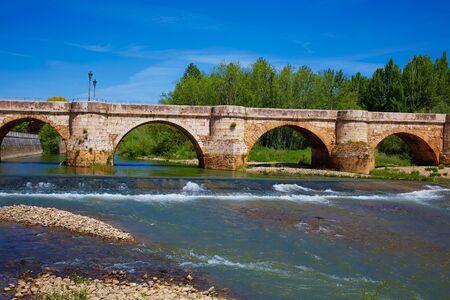 xacobeo: Bernesga river bridge in Leon Way of Saint James at Castilla Spain