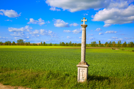 french countryside: The Way of Saint James cross column in Palencia cereal fields of Spain Stock Photo